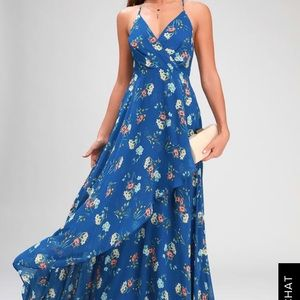 Romance Abound Royal Blue Floral Print Surplice
